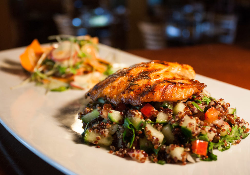 oregon salmon with red quinoa salad